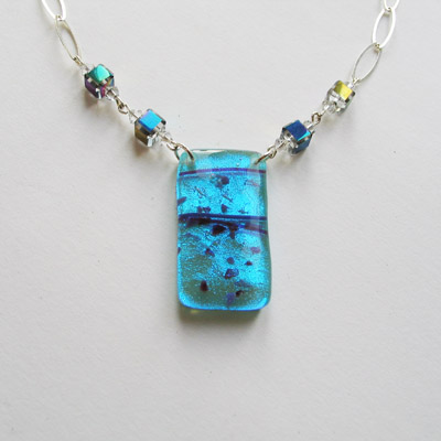 Shimmery Blue Necklace 229